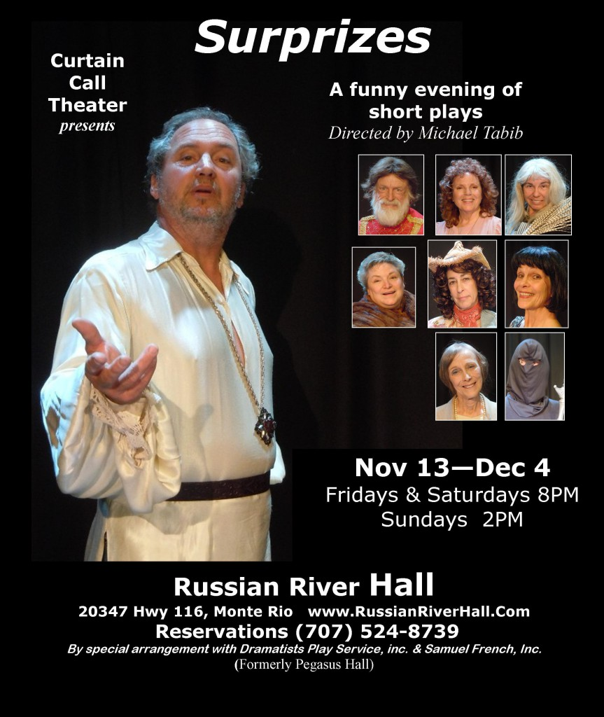Curtain Call Theater Surprises color 863x1024 SURPRIZES, A Fun Evening of Short Plays