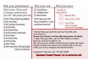 CURTAIN CALL THEATRE 2017 Season Subscription Postcard