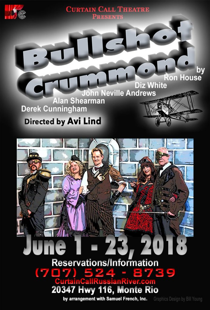 Bullshot Crummond at Curtain Call Theatre postercardFront