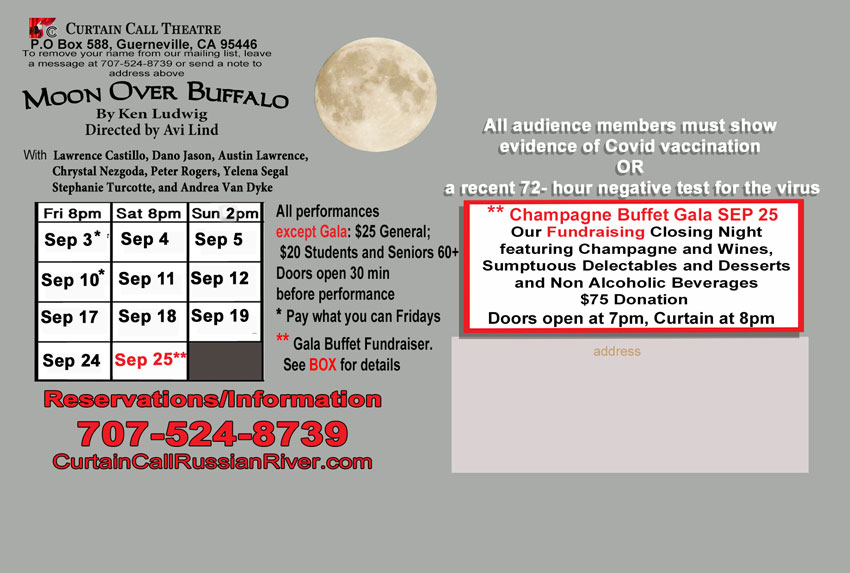 Curtain Call Theatre - Moon Over Buffalo by Ken Ludwig - Back Poster - Blurry image of a moon, logo and texts.