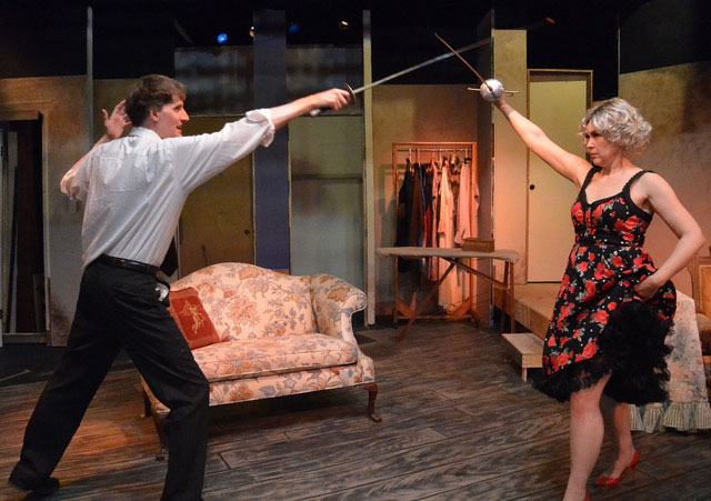 Curtain Call Theatre - Moon Over Buffalo by Ken Ludwig - Two people with swords